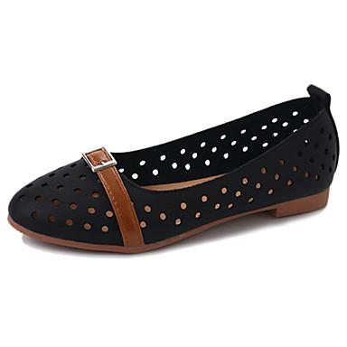 Dame Sko PU Sommer Komfort Lette såler Flate sko Gange Flat hæl Rund Tå til Formell Hvit Svart Grønn