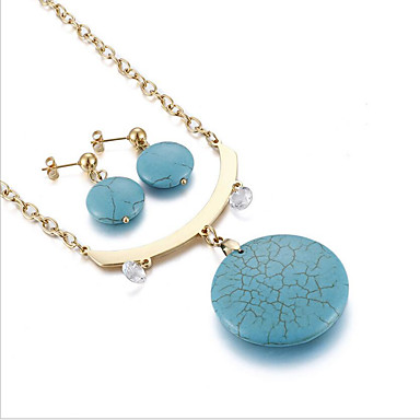 Women's Turquoise Jewelry Set - Titanium Steel, Gold Plated, Emerald Love Personalized, Luxury, Unique Design Include Stud Earrings / Pendant Necklace / Bridal Jewelry Sets Gold / Silver For Wedding
