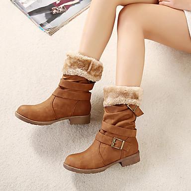 Naiset Bootsit Comfort PU Kevät Kausaliteetti Comfort Musta Kameli Khaki 1-1,75in