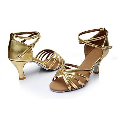 Mulheres Latina Courino Sandália Interior Salto Personalizado Dourado Personalizável