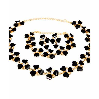 Women's Rhinestone Heart Jewelry Set - Classic Vintage Euramerican Fashion Simple Style Heart Black Jewelry Set Bridal Jewelry Sets