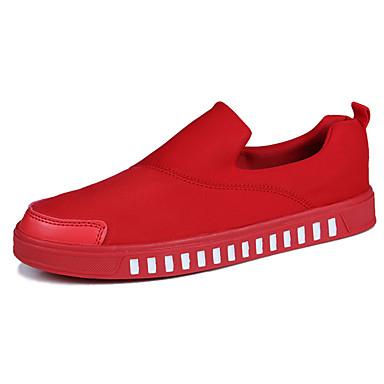 Homens sapatos Couro Ecológico Primavera Outono Conforto Mocassins e Slip-Ons para Ao ar livre Branco Preto Vermelho