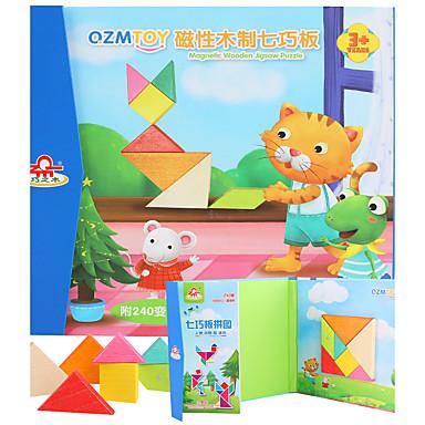Tangram Quebra-Cabeça Quebra-Cabeças de Madeira Quadrada Magnética Crianças Brinquedos Dom
