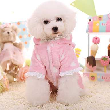 Dog Hoodie Dog Clothes Keep Warm Lace Blue Blushing Pink