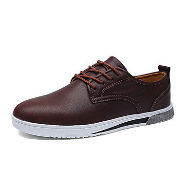 Men's Shoes Leather Spring Fall Comfort Oxfords Lace-up for Casual Office & Career Party & Evening Black Gray Wine