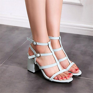 Women's Shoes PU Spring Comfort Sandals Chunky Heel For Casual White Beige
