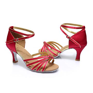 Mulheres Sapatos de Dança Latina Seda Sandália Salto Personalizado Personalizável Sapatos de Dança Fúcsia / Interior / Couro