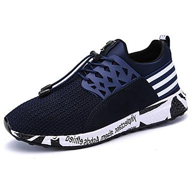 Homens sapatos Couro Ecológico Verão Conforto Tênis para Atlético Preto Cinzento Azul
