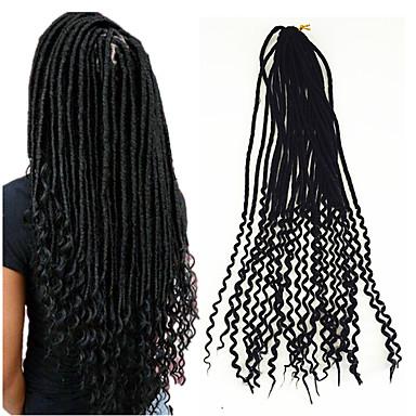Krøllet / Heklet Dreadlock Extensions / Falske dreads / 100% kanekalon hår 1 stk / pakke Krøllede fletter Hårfletter