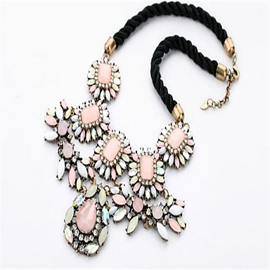 Women's Statement Necklaces Rhinestone Flower Drop Alloy Personalized Fashion Adjustable Cute Style Jewelry For Party Stage Holiday