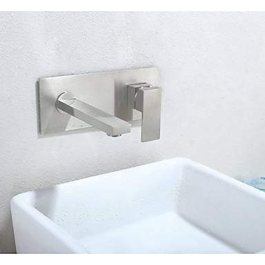 Wall Mounted Ceramic Valve One Hole Nickel Brushed, Bathroom Sink Faucet