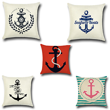 5 pcs Cotton/Linen Pillow Case Pillow Cover, Anchor Fashion Novelty Neoclassical Euro Traditional/Classic Retro