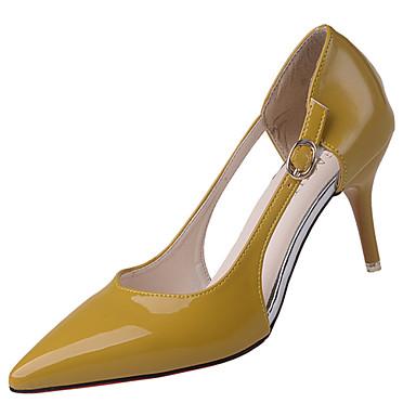 Mulheres Sapatos Couro Envernizado Verão Conforto Sandálias Caminhada Salto Agulha Dedo Apontado Presilha para Casual Preto Bege Amarelo