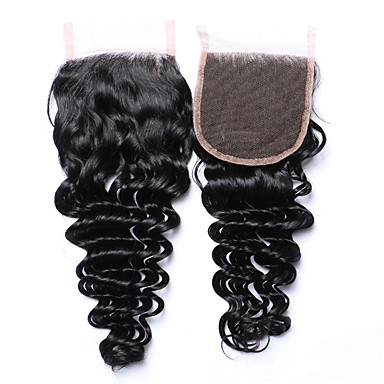 Hot Selling&Popular 8-20 Inches Grade 8A Natural Black Deep Wave Brazilian Human Hair 4x4 Lace Top Closures Free/Middle/3 Part 4*4 Swiss Lace Closures