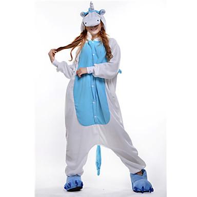 Kigurumi-Pyjamas Unicorn Pyjamas-Einteiler Kostüm Polar-Fleece Blau Cosplay Für Erwachsene Tiernachtwäsche Karikatur Halloween Fest /