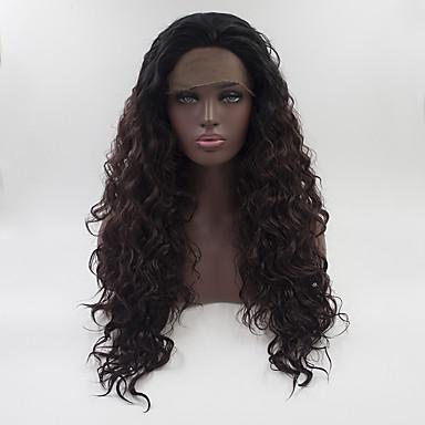 Cabelo Sintético perucas Encaracolado Peruca Natural Médio Longo Black / Dark Auburn