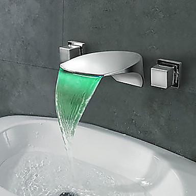Moderna Estilo Moderno LED Difundido Cascata Vãlvula Latão Duas alças de três furos Cromado