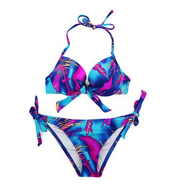 Naisten Bikini Colorblock Kukkakuvio plunging Pääntie 오피스 / 비즈니스 Nauhat Halter Painettu