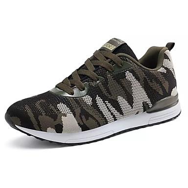 Homens sapatos Tule Primavera Outono Conforto Tênis Caminhada Cadarço para Atlético Ao ar livre Verde Tropa