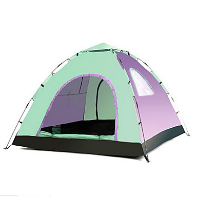 LINGNIU® 3 - 4 person Tent Single Camping Tent Outdoor Automatic Tent Keep Warm Waterproof Sun Protection for Camping / Hiking 1000-1500
