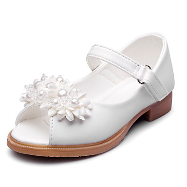 Para Meninas sapatos Courino Verão Outono Conforto Sandálias Pérolas Sintéticas Apliques Velcro para Casamento Festas & Noite Social