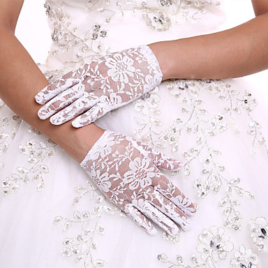 Lace Wrist Length Glove Flower Girl Gloves With Rhinestone
