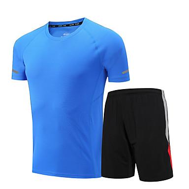 Herre Dame T-skjorte og shorts til jogging Kortermet Fitness, Løping & Yoga Fort Tørring Klessett til Løper Trening & Fitness Løstsittende