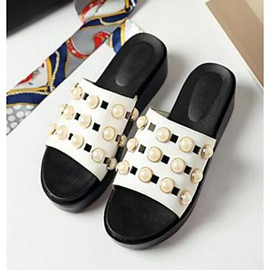 Damen Schuhe Nubukleder PU Sommer Komfort Sandalen Für Normal Weiß Schwarz Beige