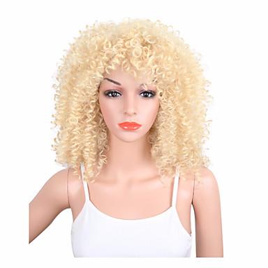 Syntetisk hår Parykker Kinky Krøllet Afroamerikansk parykk Lokkløs Naturlig parykk Medium Blond