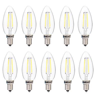 Brelong 10 pcs e14 2 w regulável led filamento lâmpada ac 220 v branco / branco quente