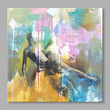 Maalattu Abstrakti Neliö, Korkealaatuinen Kangas Hang-Painted öljymaalaus Kodinsisustus 1 paneeli