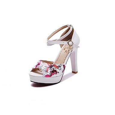 Mulheres Sapatos Couro Ecológico Courino Sintético Verão Outono Inovador Conforto Sandálias Caminhada Salto Robusto Peep Toe Pedrarias