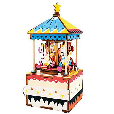 Fából készült építőjátékok Ló Körhinta Rajzfilmfigura Merry Go Round Cuki DIY Fa Kompozit Fiú Ajándék