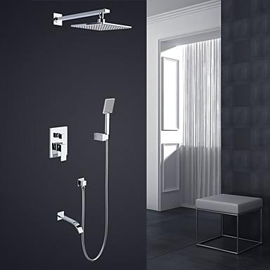 Shower Faucet - Modern Style / Basic Chrome Wall Mounted Ceramic Valve / Brass