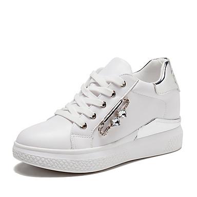 Damen Schuhe TPU Frühling Herbst Komfort Flache Schuhe Walking Flacher Absatz Runde Zehe Strass für Normal Weiß Silber