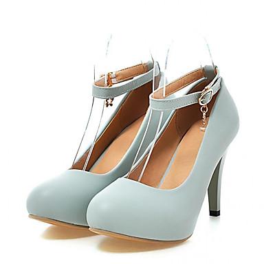 Mulheres Sapatos Couro Ecológico Primavera / Outono Conforto / Inovador Saltos Caminhada Salto Agulha Ponta Redonda Presilha / Poa Roxo /