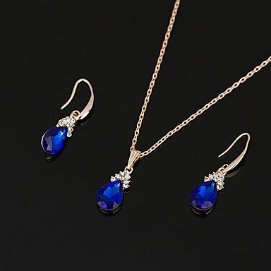 Mulheres Sapphire sintético Zircônia Cubica Conjunto de jóias - Vintage Elegant Caído Azul Brincos Compridos Gargantilhas Sets nupcial