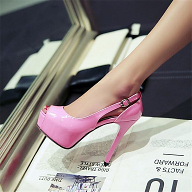 Women's Shoes PU Spring Comfort Sandals Chunky Heel Wedge Heel Stiletto Heel For Casual Black Yellow Blushing Pink