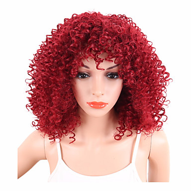 Synthetic Wig Curly / Afro Synthetic Hair African American Wig Red Wig Women's Short Capless Red
