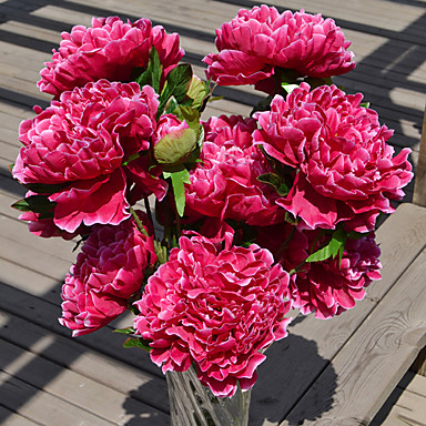 1 Branch Plastic Peonies Tabletop Flower Artificial Flowers