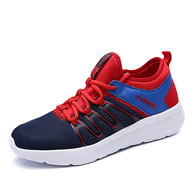 Men's Shoes Breathable Mesh PU Spring Summer Light Soles Comfort Athletic Shoes Running Shoes Lace-up for Athletic Outdoor Black Dark