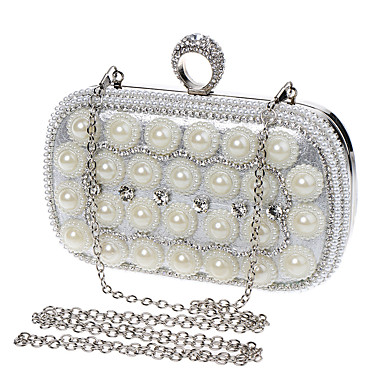 Women's Bags Polyester Evening Bag Rhinestone Pearl Detailing for Wedding Event / Party Formal All Seasons Blue Gold Black Silver Red