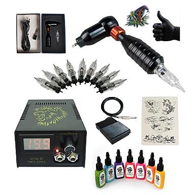 Tetováló gép Kezdő készlet 1 x forgómotoros tetoválógép kontúrhoz és satírhoz LCD tápegység 1 x alumínium markolat 5 db Tattoo tűk