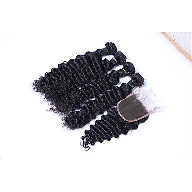 Brazilian Hair Deep Wave Human Hair Weaves 5 Pieces Natural Color Hair Weaves
