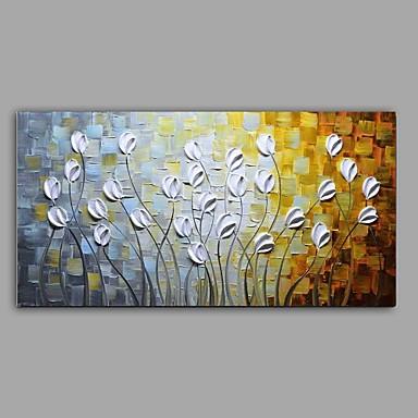 Hang malte oljemaleri Håndmalte - Blomstret / Botanisk Abstrakt / Parfymert Lerret / Stretched Canvas