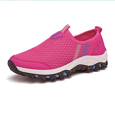Mulheres Sapatos Tule Primavera Outono Conforto Tênis Sem Salto Ponta Redonda Cadarço para Ao ar livre Azul Escuro Fúcsia Azul Real