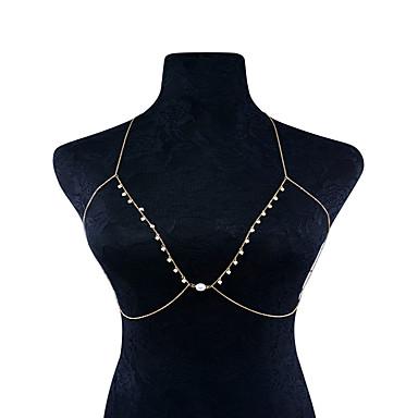 Mulheres Cadeia corpo / Cadeia de barriga Imitação de Pérola Cobre Ferro Fashion Forma Geométrica Bijuteria de Corpo Para Ocasião