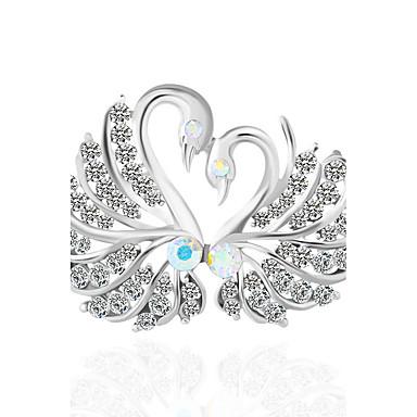 abordables Epingles & Broches-Femme Diamant synthétique Broche Oiseau Animal Broche Bijoux Argent Pour Mariage Soirée