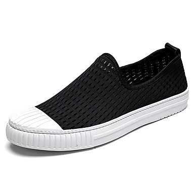Men's Loafers & Slip-Ons Comfort Summer Fall Fabric Casual Lace-up Flat Heel White Black Flat