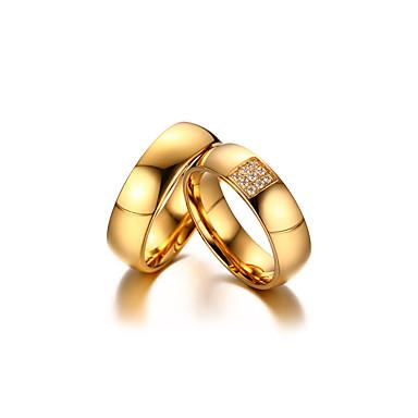 Casal Zircônia cúbica Anéis de Casal - Zircônia Cubica, Banhado a Ouro 18K Dourado